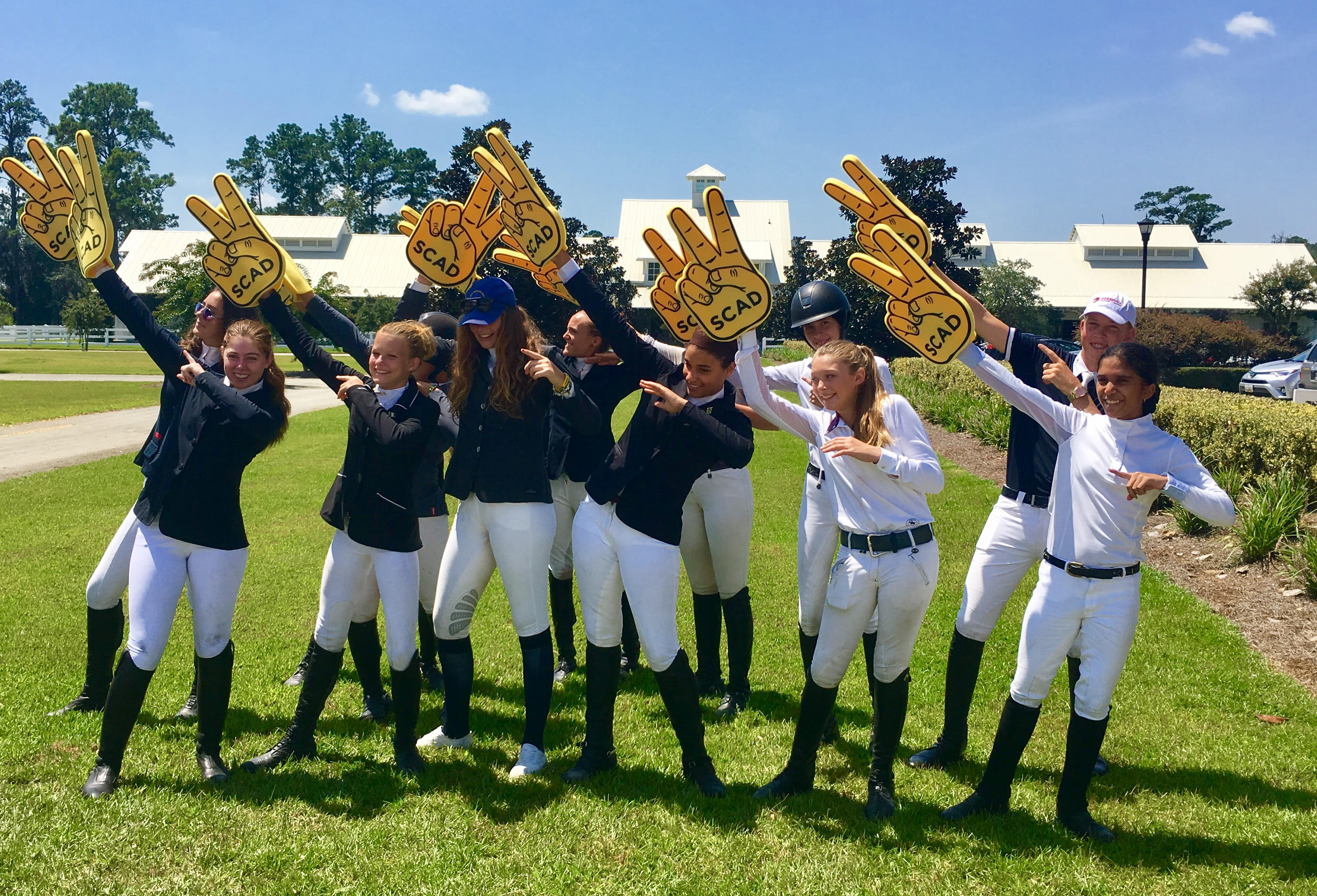 The competitors of the Caribbean Junior Jumping Challenge showed their enthusiasm for their host. Photo courtesy of PAEC